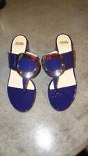 Frances Valentine 'Noel' Patent Leather Thong Sandals Shoes Blue 6.5 $325