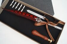 Vintage Style - Calligraphy Feather Quill Metal 5 Nib Dip Pen Set & Wax Seal Set