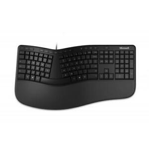 Microsoft Ergonomic Keyboard Black - Wired Connectivity - Feat. dedicated integr