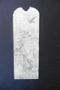FRENCH SCHOOL 19thC - STUDY FOR A DECORATION WITH PLANTS AND BIRDS SIGN. GILBERT