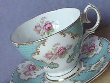 Vintage 1950's Queen Anne Lady Eleanor blue pink rose bone china tea cup teacup