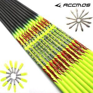 31 in Pure Carbon Arrow Shaft ID 4.2mm Arrow tube Fluorescent Yellow Arrow DIY