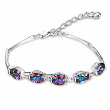 8ct Amazing Genuine Oval Fire MysticTopaz Bracelet Solid 925 Sterling Silver Hot