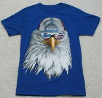 American Patriotic Eagle Snapback Hat T-Shirt Top Blue Solid Cotton Poly Small