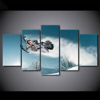 Snowmobiles Snow 5 panel canvas Wall Art Home Decor Poster Print