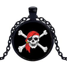 Vintage Pirate Skull Black Cabochon Glass Necklace chain Pendant