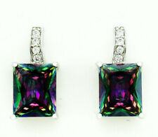LARGE MYSTIC TOPAZ  7.66 Cts DANGLING EARRINGS SILVER PLATED ** New With Tag **