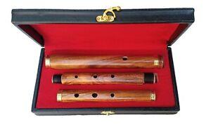 58.4cm Irlandese Professionale 3 Parti D Flauto Legno di Sheesham Con Rigida Box