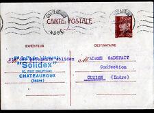 """CHATEAUROUX (36) VETEMENTS INDUSTRIELS """"SOLIDEX"""" Carte d'entreprise en 1943"""