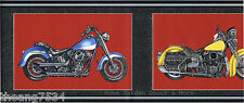 Blue Yellow Red Flame Motorcycles Black Silver Frame Wallpaper Border