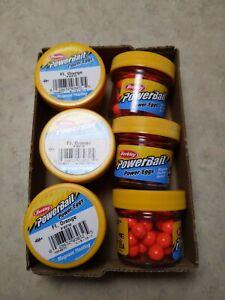 Lot of 6 Jars Berkley Powerbait FL.Orange Magnum Floating Power Eggs FEFO NEW