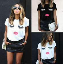 Fashion Women T shirts Short Sleeve Tops Eyelash Lips Printed Loose Blouse Shirt
