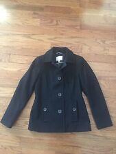Mint Nautica Womens Black pea coat Jacket Wool Blend Sz XS Nautical