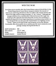1942 WIN THE WAR – Mint, Never Hinged, Block of Four Vintage U.S. Postage Stamps