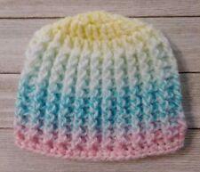 Preemie baby ribbed hat beanie girls boys birthday pink blue crochet