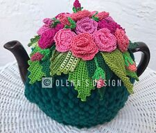 Handmade Crochet tea cozy Green tea cover  Bright Pink  Roses Tea cosy