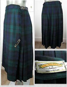 James Pringle Weavers Women's Plaid Tartan Full Length Wool Skirt/Kilt - Sz EU14