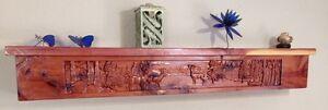 Carved Fireplace Mantel  /Cedar/Shelf/ Rustic /Wood/ Cabin/ Lodge /Log Furniture