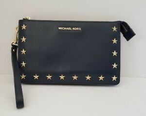 Michael Kors Medium Gusset Wristlet Navy Blue Leather Bag