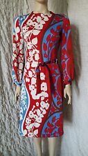 Lanvin boutique vintage 60's floral printed dress in red, blue, white and navy