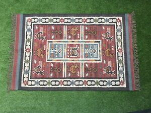 Hand-woven Floor Kilim Rugs Area vintage Rug Hand loomed Rustic Indian 4x6-42