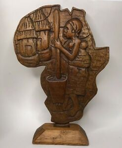 Vintage Tribal Art African Woman Stand Alone Plaque on Base Hand Carved Wood