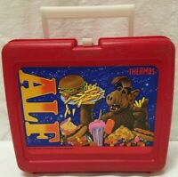 1987 ALF Thermos Lunch box Alien Productions Red Plastic w/ Complete Thermos