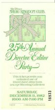 Walt Disney 25th Annual Director Party Ticket 1982 Magic Kingdom Club