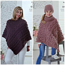 KNITTING PATTERN Ladies & Girls V-Neck Multi Cable Poncho Aran KC 4671