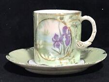 New listing R C Monbijou Bavaria Water Lily & Iris Green Demitasse Cup And Saucer