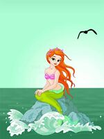 ART PRINT NURSERY MERMAID FISH TAIL GIRL OCEAN GULL GREEN KIDS BEDROOM LFMP0828