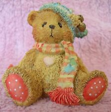 Cherished Teddies Bear With Green Stocking Cap Ornament # 951226 1992 By Enesco