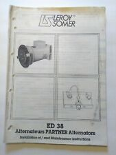 Leroy Somer Installation & Maintenance Instructions ED 38 Partner Alternators