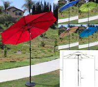 9Ft Patio Umbrella Parasol Yard Sun Shade Market Steel Tilt W/ Crank Outdoor US