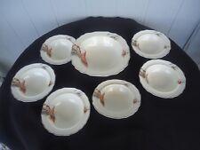 vintage art deco myott vandyke orange sailing ship 7 piece dessert bowl set