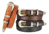 New Silver & Gold Buckle Set Genuine Leather Western Ranger Belt, Sizes 32-50!!