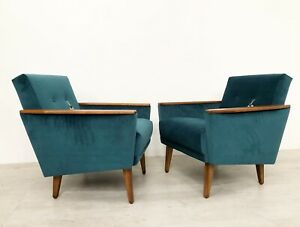 MATCHING PAIR OF VINTAGE DANISH INSPIRED COCKTAIL LOUNGE CHAIRS IN PEACOCK