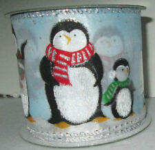 Christmas Holiday Indoor Craft Blue Red Baby Penguin Glitter Wire-Edged Ribbon