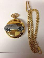 Saab 96 V4 ref220  pewter effect emblem gold quartz pocket watch