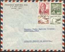 124 CHILE TO US AIR MAIL COVER 1960 SANTIAGO - LANSDALE, PA