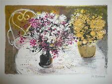 Jouenne Michel Lithographie originale signée bouquet de fleurs nature morte
