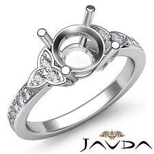 Round Diamond Engagement Ring 3 Stone Pave Set Semi Mount 14k White Gold 0.25Ct