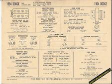 1964 DODGE 880/CUSTOM 880 413 ci HI-PO V8 Engine Car SUN ELECTRONIC SPEC SHEET