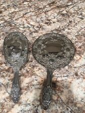 Vintage Silver Plated Hair Brush And Hand Mirror Set