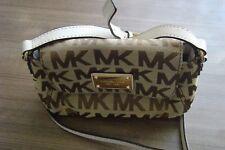 Michael Kors Jet Set Canvas Tan/Brown Small Flap Crossbody Strap Bag Purse