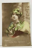 RPPC Lovely French Woman Adorned with Leaves Hand Colored 1915 Postcard I18