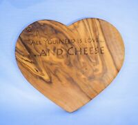 Heart Shaped Olive Wood Kitchen Board - Personalised and Engraved to Order