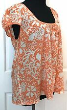 Arden B Womens Orange White Floral Blouse SZ L Silk Blend Stretchy Cap Sleeve