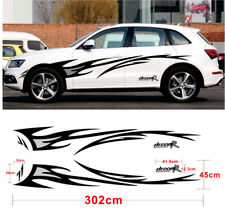 Vinyl Car Side Graphic Decal Flame Body Sticker for Any Vehicle Black+Grey Color