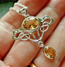Art Nouveau Style Sterling Silver Citrine Necklace November Birthstone